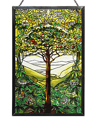 Tiffany Tree of Life Stained Art Glass Panel 10'' x 6.5'' with Hanging Chain