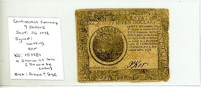 $7 SEPT 26,1778 CONTINENTAL CURRENCY Watking Ker Signed # 7781