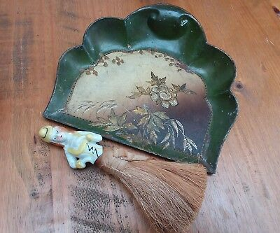 Stunning vintage antique table crumb sweeping set. Hand decorated