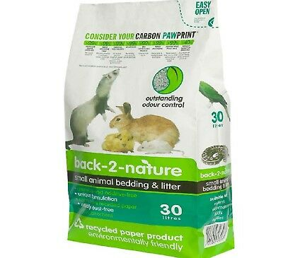 SMALL ANIMAL BEDDING & LITTER - (30L) - Back 2 Nature Pet Paper Pellets bp Litre