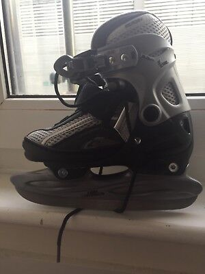 NO FEAR ice skates BOYS KIDS 4 sizes adjustable size 12 to size 2 GREY&BLACK