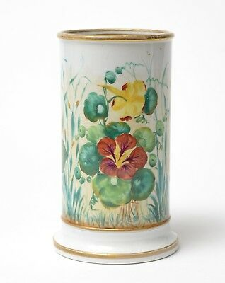 Antique Georgian Regency Hand Painted Botanical Study Pearlware Spill Vase c1820