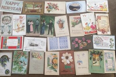 Vintage Postcard lot of 26 holiday birthday new year + more 1907 - 1920's