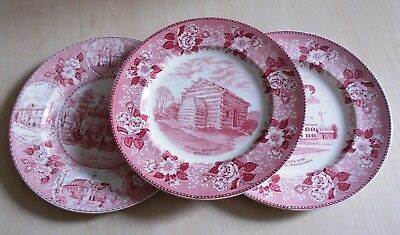 3 Vintage pink white Old English Staffordshire Ware dinner plates, US patterns