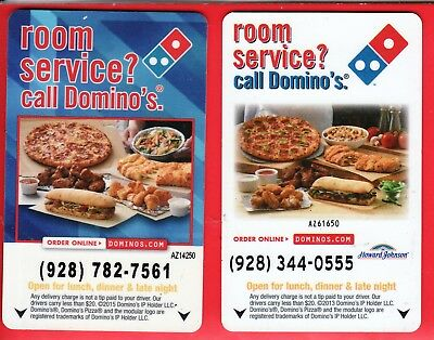 SET of 2 DIFFERENT  USA  MOTEL / HOTEL ROOM KEY / CARDS w/DOMINO PIZZA