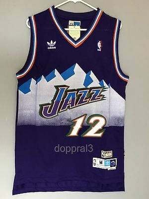 new arrival 4b4a1 e355e NWT JOHN STOCKTON #12 NBA Utah Jazz Swingman Throwback Jersey Purple Man