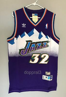 sale retailer 38f51 3dc95 NWT KARL MALONE #32 NBA Utah Jazz Swingman Throwback Jersey Purple Man