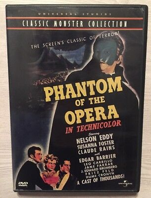 Classic Monster Collection PHANTOM OF THE OPERA DVD (1943) In Color Like New