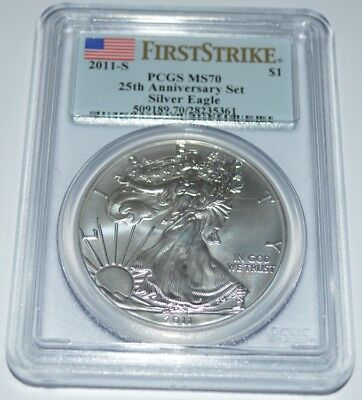 2011-S First Strike 25Th Anniversary Set Silver Eagle Ms70 Pcgs Dollar