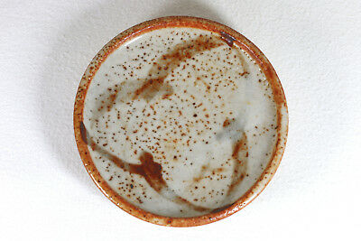 A Vintage Japanese Shino Ware Pin Dish Iron Rust Speckled Glaze Stamped Mark