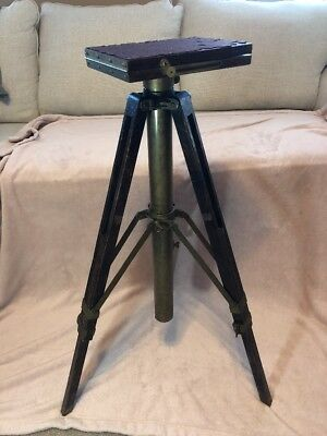 Antique wooden and brass tripod