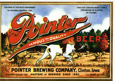Pointer Brewing Hunting Dog  Beer Label T Shirt Clinton Iowa Small-Xxxlrge (F)