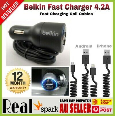 Belkin Dual USB Car Charger 4.2A For IPhone X 6 7 8 Plus Samsung S7 S8 NOTE 8