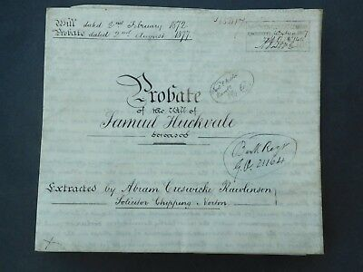 Antique Vellum Indenture 1877 Probate Chipping Norton Samuel Huckvale