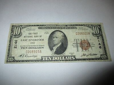 $10 1929 East Liverpool Ohio OH National Currency Bank Note Bill Ch. #2146 Fine