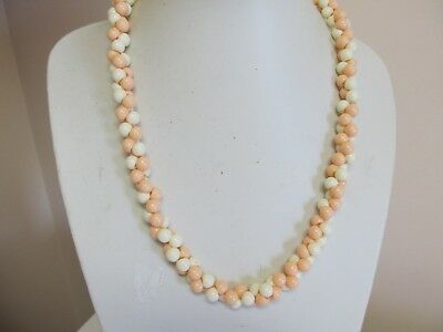 """Vintage 24"""" White & Pale Peach Twisted Bead Necklace"""