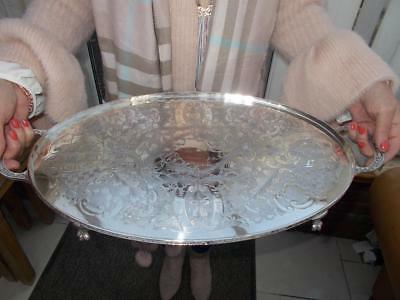 Large Silver Plated Tray By Viners Looped Handles Elegant Ball & Claw Feet