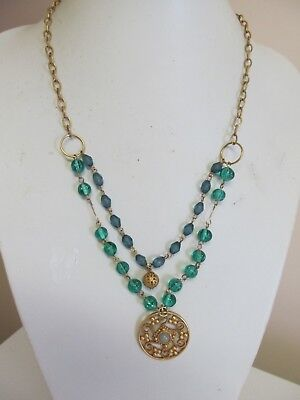"""Vintage """"NY"""" Green Glass Blue Bead & Gold Tone Drop Necklace"""