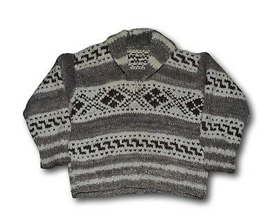 Vintage COWICHAN Patterned 100% Wool Big Shawl Collar Pullover Sweater Sz L