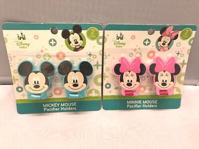 2-Pack Baby Pacifier Holders Minnie Mickey Mouse