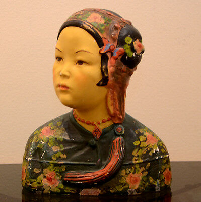 Vintage Joe Celona Chalkware Chinese Girl Head Bust 1920's