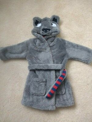 M&S Grey Boys dressing gown with Wolf Hood 12-18 months 1-1½ years Immaculate