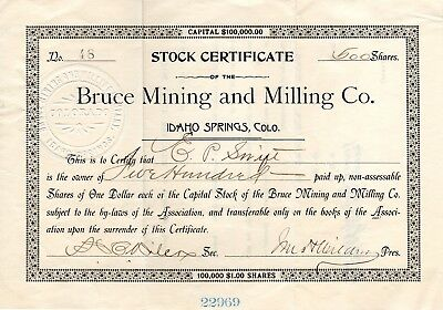 Mid-1800's Bruce Mining and Milling Co Stock Certificate, Idaho Springs Colo