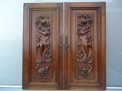 2 french antique wooden buffet door carved chimera gargoyles mythology