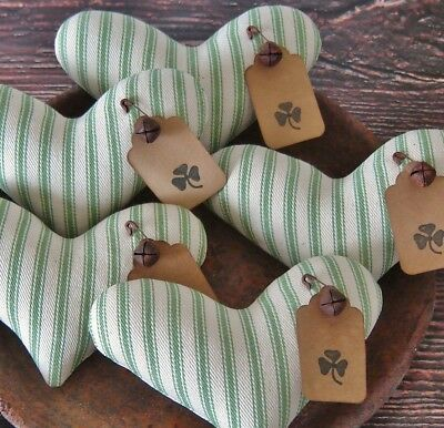 Primitive St Patricks Day Heart Bowl Fillers ~ Ticking Fabric ~ Shamrock Tags