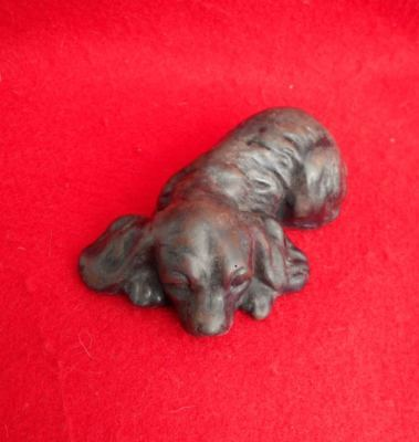 Old Cold Cast Bronze Cocker Spaniel Puppy Figurine Dog Paperweight Great Gift!