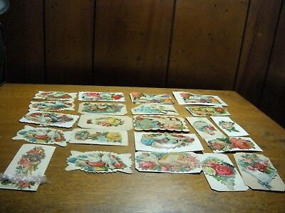 22 Antique Lot Diecut Victorian  calling cards dove roses embossed hand