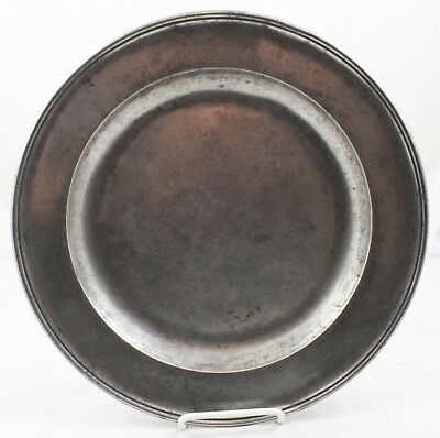 18/19C ENGLISH  PEWTER CHARGER #4 Thomas and Townsend Compton