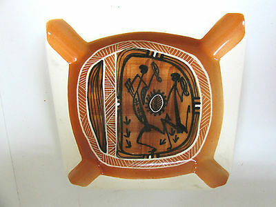 Studio Anna Ashtray Aboriginal Painting Design Australian Pottery Ceramic