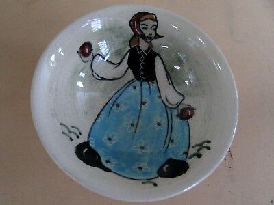 Martin Boyd Hand Painted Dutch Girl Bowl Viintage Australian Pottery