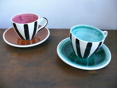 Amb Arthur Merric Boyd Cups & Saucers Hand Painted Ceramic Australian Pottery