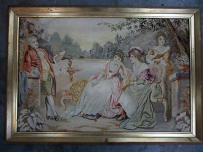 Antique Victorian Wall Tapestry Hand Stitched Artist Picture Ladies In Garden