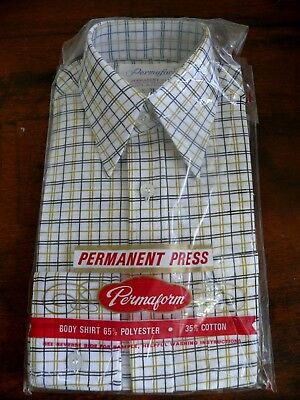 Vintage Retro Checked Boys Shirt Size 8 -130 Cm Old Shop Stock Nib Unopened