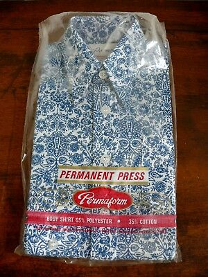 Vintage Retro Blue Paisley Boys Shirt Size 4 -110 Cm Old Shop Stock Nib Unopened