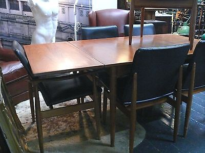1960s PARKER TEAK EXTENSION TABLE AND 6 CHAIRS RETRO MID CENTURY MODERN DESIGN
