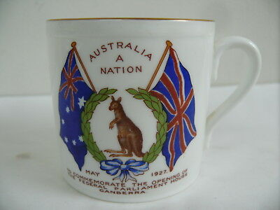 Aynsley Porcelain Cup Open Australian Canberra Parliament House 1922 Coat Arms