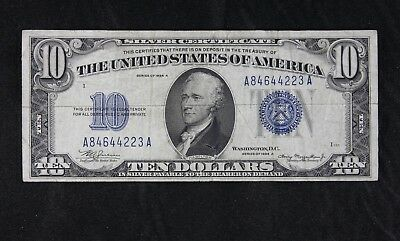 $10 1934A Mule large blue seal silver certificate A84644223A series A, FREE SHIP