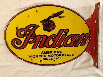 1940's Vintage Porcelain indian MotorCycle 2 Sided With Flange Enamel Sign