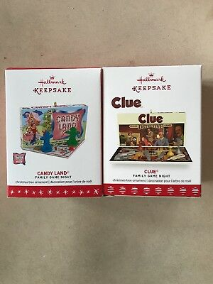 hallmark keepsake christmas Clue and Candy Land Family Game Night ornaments lot