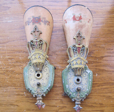 Pair of Vintage Lincoln Aluminum Art Nouveau Sconces with Painted Glass Shades
