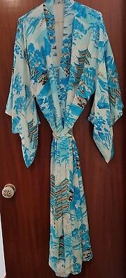 Gorgeous Long Vintage Japanese Kimono Robe/bath Robe Fully Lined With Belt Med