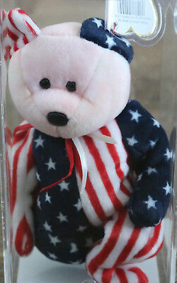 Ty Beanie Baby Babies SPANGLE Pink Face Authenticated Rare 1999 Patriotic