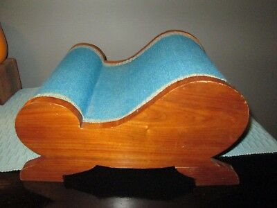 Vintage antique arched wooden footstool FOOT STOOL  foot rest wood fabric CURVED