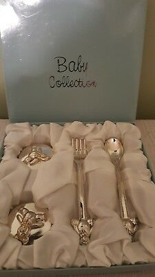 Silver plated 6pc baby gift set spoon fork 2 collectors boxes with bears on lid