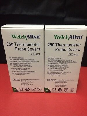 (2)Welch Allyn SureTemp Thermometer Probe Covers Box of 250 REF:05031 NEW!