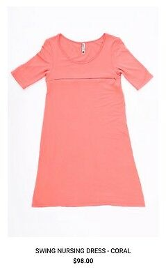 Harper & Bay Swing Nursing Dress Breastfeeding Coral Sz Small Brand New NWT $98